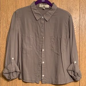 Olive Green Crop Button Down Shirt